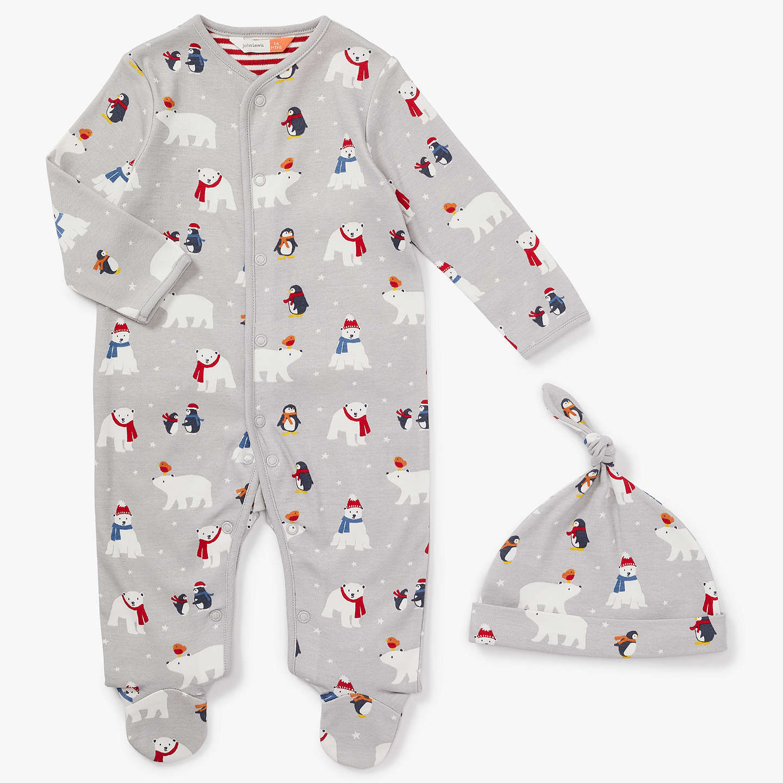 John Lewis Baby Polar Bear Penguin Print Sleepsuit And Hat Set