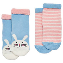 Buy Baby Joule Terry Bunny Socks, Pack of 2, Blue/Pink Online at johnlewis.com