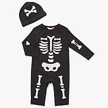 Buy John Lewis Baby Halloween Skeleton Romper & Hat, Black Online at johnlewis.com