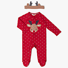 Buy John Lewis Baby Reindeer Star Sleepsuit, Red Online at johnlewis.com