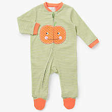 Buy John Lewis Baby Long Sleeve Zip Pumpkin Sleepsuit, Multi Online at johnlewis.com