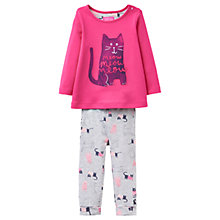 Buy Baby Joule Poppy Paint Cat Top and Trousers Set, Pink/Grey Online at johnlewis.com