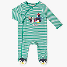 Buy John Lewis Baby Penguin 1st Christmas Sleepsuit, Green Online at johnlewis.com