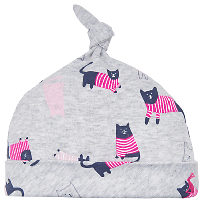 Baby Joule Koo Knot Cat Hat, Grey/Pink