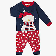 Buy John Lewis Baby Christmas Snowman Pyjamas, Blue/Red Online at johnlewis.com