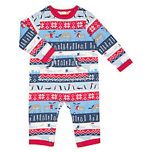 Buy John Lewis Baby Christmas Fairisle Print Romper, Blue Online at johnlewis.com