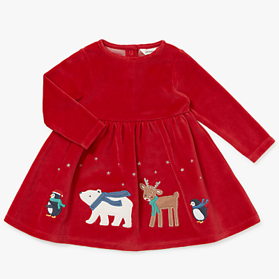 Kids 1950s Clothing & Costumes: Girls, Boys, Toddlers John Lewis Baby Christmas Border Dress Red £14.00 AT vintagedancer.com