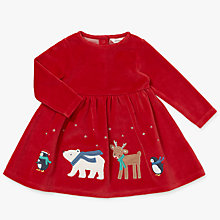 Buy John Lewis Baby Christmas Border Dress, Red Online at johnlewis.com