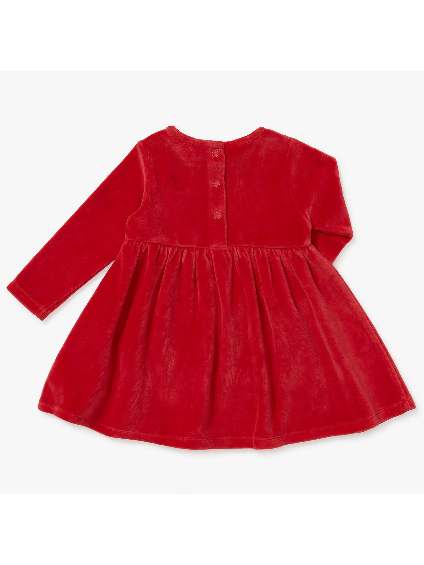 John Lewis Baby Christmas Border Dress, Red at John Lewis & Partners