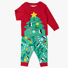 Buy John Lewis Baby Christmas Tree Print Pyjamas, Green/Red Online at johnlewis.com