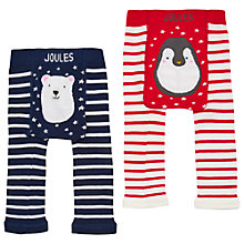 Buy Baby Joules Lively Christmas Footless Leggings, Pack of 2, Navy/Red Online at johnlewis.com