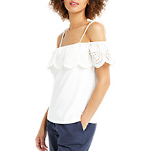 Buy Oasis Broderie Ruffle Bardot Top, Cream Online at johnlewis.com
