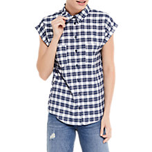 Buy Oasis Check Roll Sleeve Shirt, Multi/Blue Online at johnlewis.com