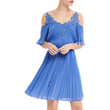 Buy Oasis Cold Shoulder Pleat Dress, Light Blue Online at johnlewis.com