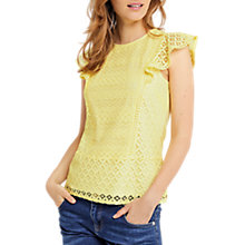 Buy Oasis Patched Lace Shell Top, Mid Yellow Online at johnlewis.com