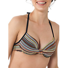Buy Fat Face Textured Striped Plunge Bikini Top, Multi Online at johnlewis.com