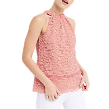 Buy Oasis Lace Halter Neck Top, Coral Online at johnlewis.com