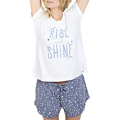 Fat Face Slogan Pyjama Set, Chambray