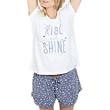 Buy Fat Face Slogan Pyjama Set, Chambray Online at johnlewis.com