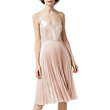 Buy Warehouse Foil Pleated Dress, Light Pink Online at johnlewis.com