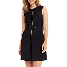 Buy Oasis Textured Zip Front Dress, Black Online at johnlewis.com