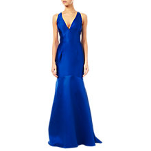 Buy Adrianna Papell Mikado Plunging V-Neck Gown, Blue Online at johnlewis.com