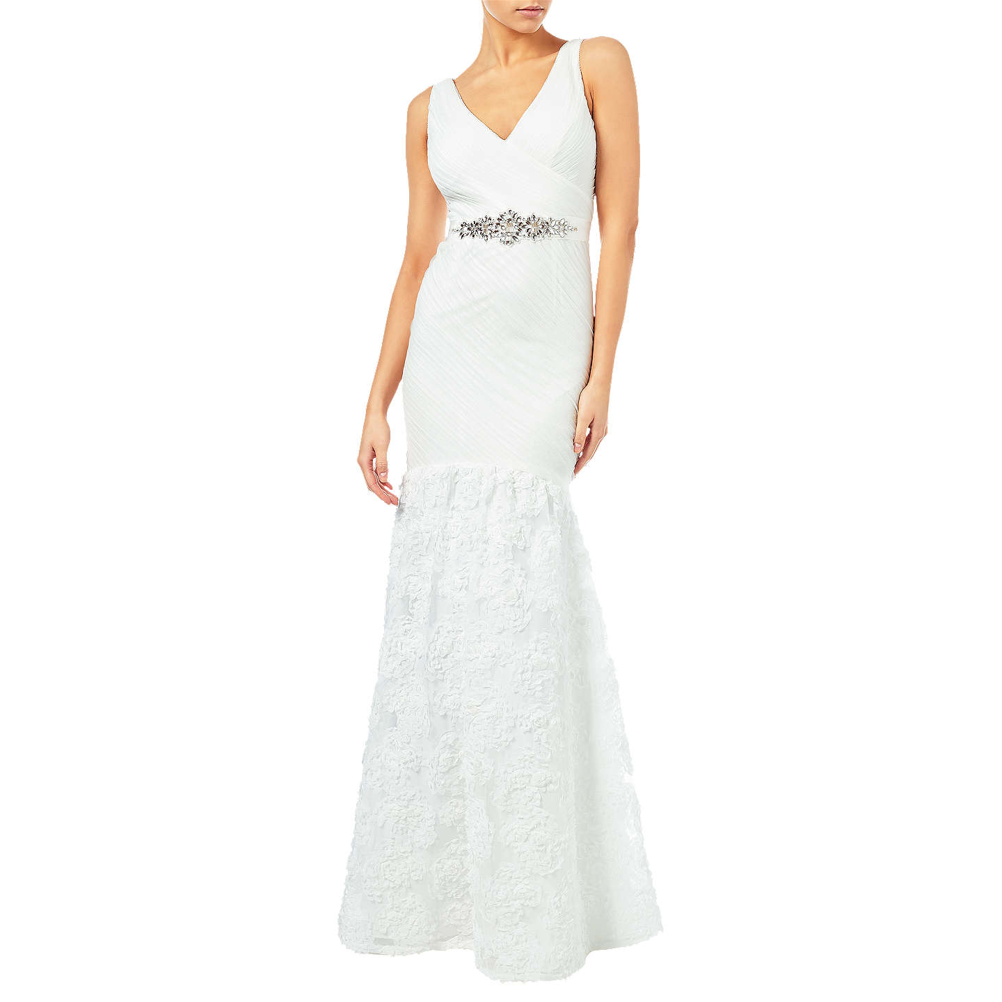 Adrianna Papell Sleeveless Tulle Chiffon Petal Gown, Ivory at John Lewis