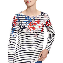 Buy Joules Harbour Long Sleeve Printed Jersey Top, Cream Fay Floral Border Online at johnlewis.com
