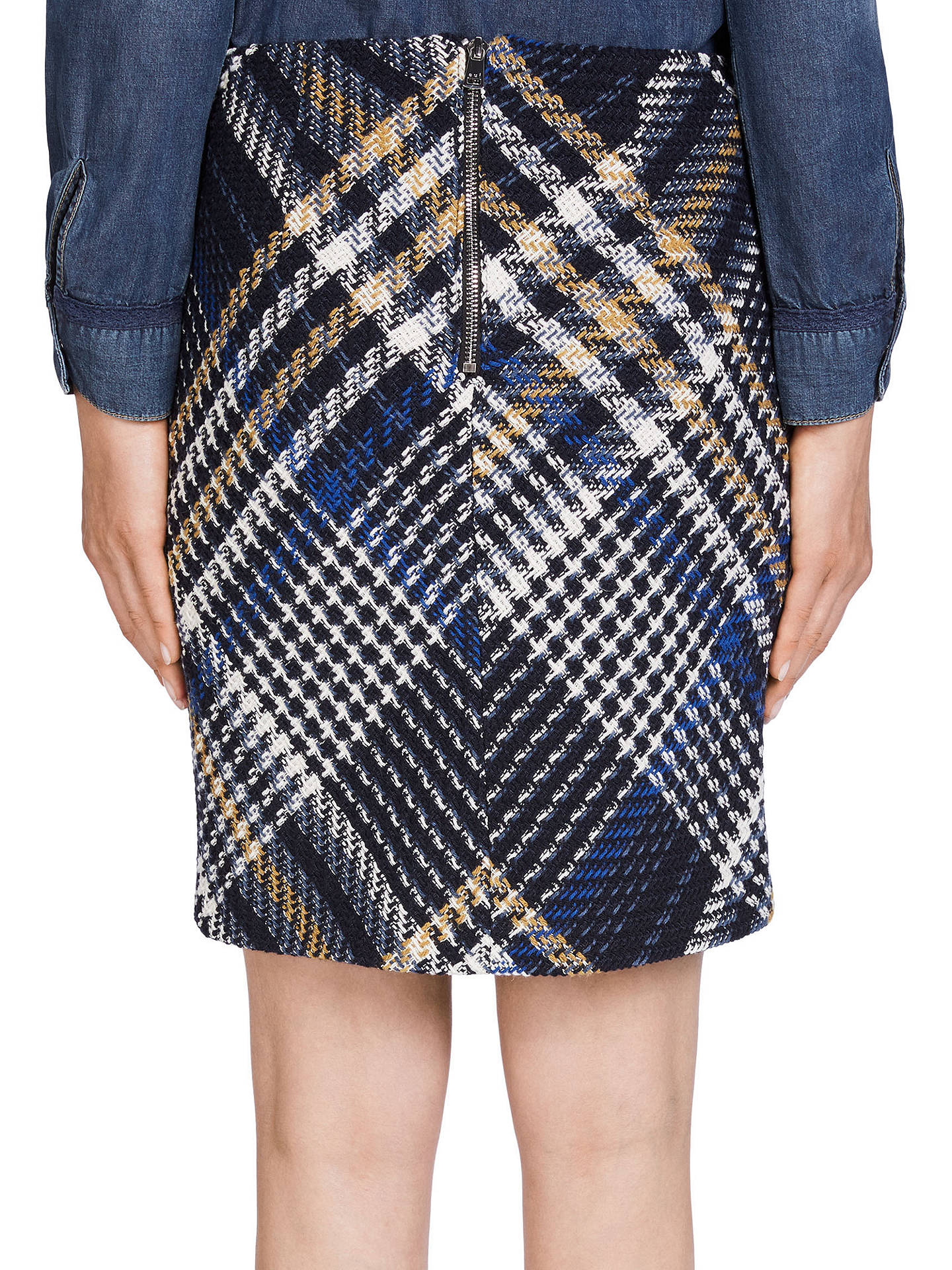 Buy Oui Check Tweed Skirt, Dark Blue/Grey, 8 Online at johnlewis.com