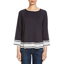 Buy Oui Striped Detail Knit Jumper, Dark Blue/Grey Online at johnlewis.com