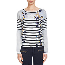 Buy Oui Printed Stripe Jumper, Blue/Dark Blue Online at johnlewis.com
