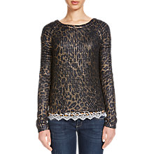 Buy Oui Printed Metallic Animal Jumper, Dark Blue/Grey Online at johnlewis.com