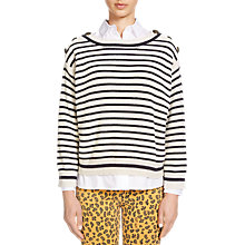 Buy Oui Stripe Ribbed Knit, Cream/Blue Online at johnlewis.com