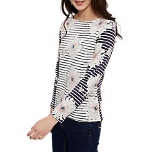 Buy Joules Harbour Long Sleeve Printed Jersey Top, Cream Peony Stripe Online at johnlewis.com