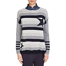 Buy Oui Metallic Fibre Striped Star Knit Jumper, Blue/Dark Blue Online at johnlewis.com