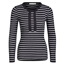 Buy Oui Metallic Fibre Stripe Jumper, Dark Blue/Grey Online at johnlewis.com