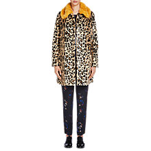 Buy Oui Faux Fur Animal Coat, Dark Camel Online at johnlewis.com