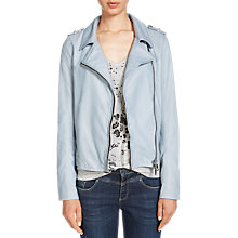 Buy Oui Leather Biker Jacket, Ashley Blue Online at johnlewis.com