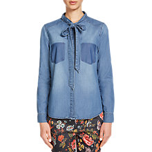 Buy Oui Chambray Blouse, Denim Blue Online at johnlewis.com
