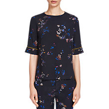 Buy Oui Printed Elbow Sleeve Blouse, Dark Blue/Yellow Online at johnlewis.com