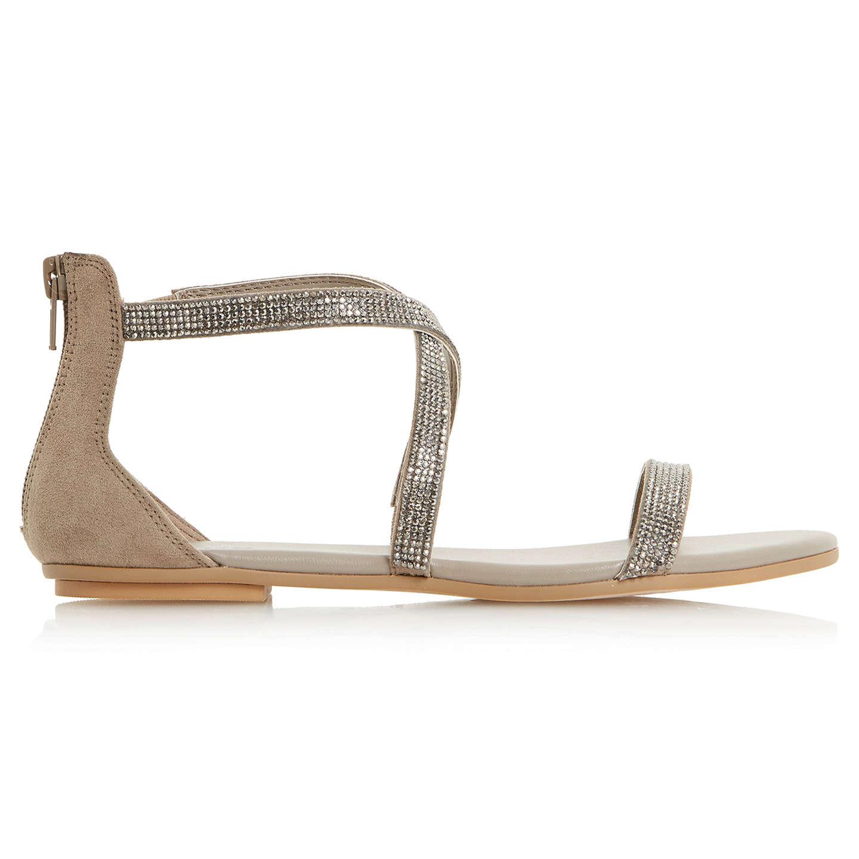 BuyDune Niftey Cross Strap Embellished Sandals, Grey, 3 Online at  johnlewis.com ...