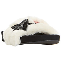 Buy Dune Lorii Star Sequin Faux Fur Slider Sandals, Natural Online at johnlewis.com