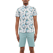 Buy Ted Baker Char Bird Print Short Sleeve Shirt, White Online at johnlewis.com