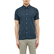 Buy Ted Baker Drakey Diamond Print Short Sleeve Shirt, Navy Online at johnlewis.com