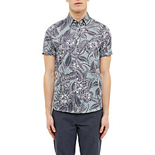 Buy Ted Baker Floral Short Sleeve Shirt, Green Online at johnlewis.com