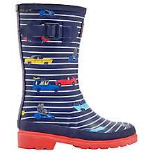 Buy Little Joule Children's Stripe Cars Wellington Boots, Navy Online at johnlewis.com
