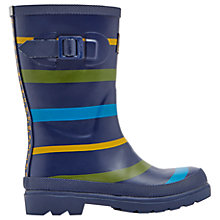 Buy Little Joule Children's Multi Stripe Wellington Boots, Navy/Multi Online at johnlewis.com