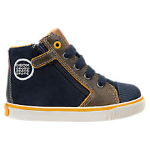 Buy Geox Children's Kiwi Mid Top Shoes, Navy/Yellow Online at johnlewis.com
