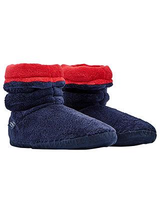 John Lewis Boys Children/'s Stripe Jersey Slippers Navy//Green Size 1 NEW £14.00
