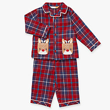 Buy John Lewis Baby Christmas Reindeer Pocket Pyjamas, Red/Multi Online at johnlewis.com